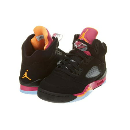 Nike Jordan Girl - NIKE GIRLS AIR JORDAN 5 RETRO (GS) BLACK/BRIGHT CITRUS-FSN PINK 440892-067 SZ3.5