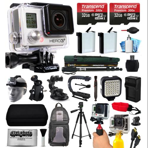 GoPro HERO3 Hero 3 Black Edition Camera Camcorder with 64GB Accessories Bundle includes 2x Battery + Backpack + Action Handle + Car Mount + Selfie Stick + Case + LED Video Light (CHDHN-301)