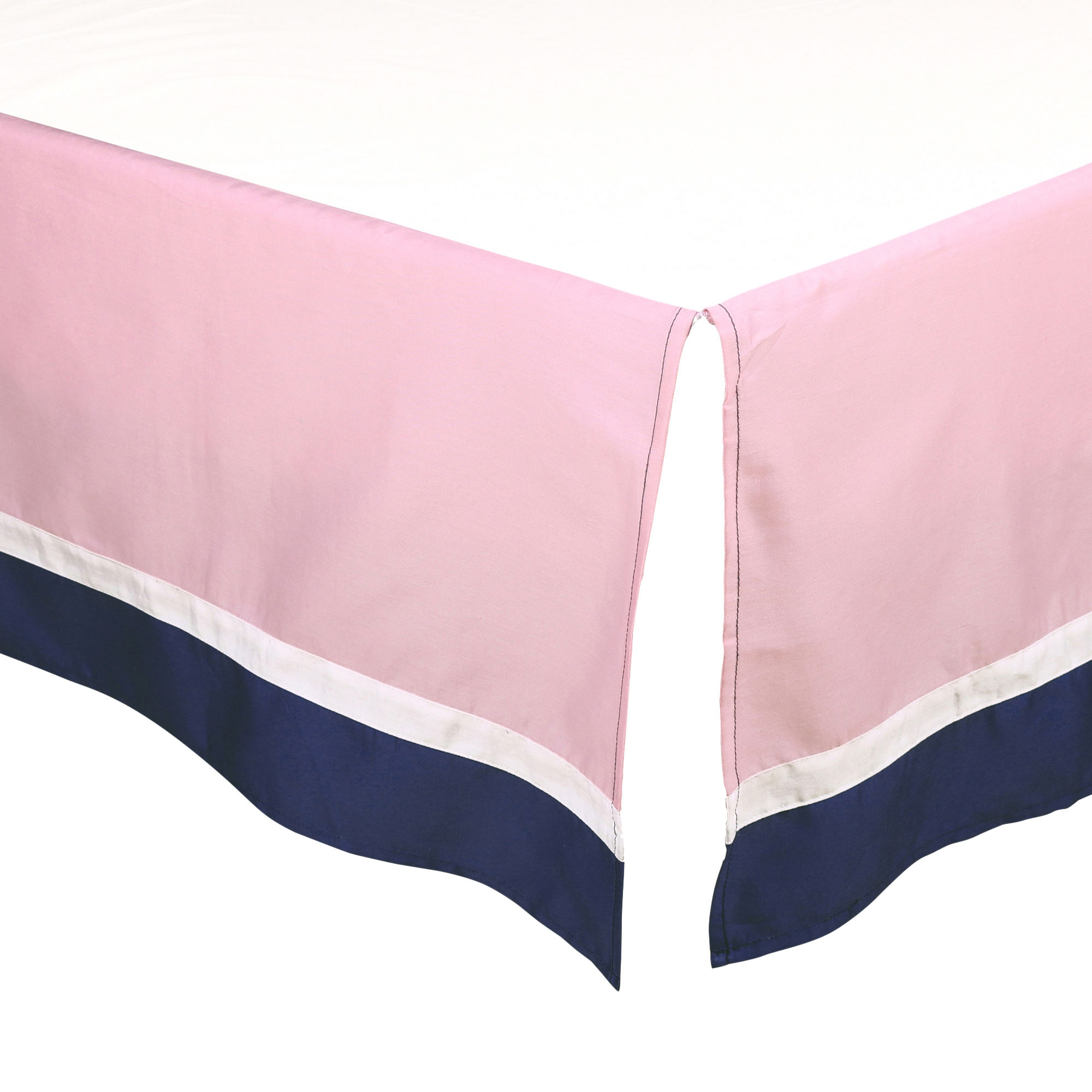 The Peanut Shell Tailored Crib Skirt - Solid Pink and Navy Blue - 100% Cotton Sateen 14 Inch Drop, Standard Crib