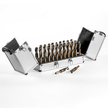 Stark 33PC Silver & Deming Drill Bit Index Set Black and Gold Tri-Flat 1/2