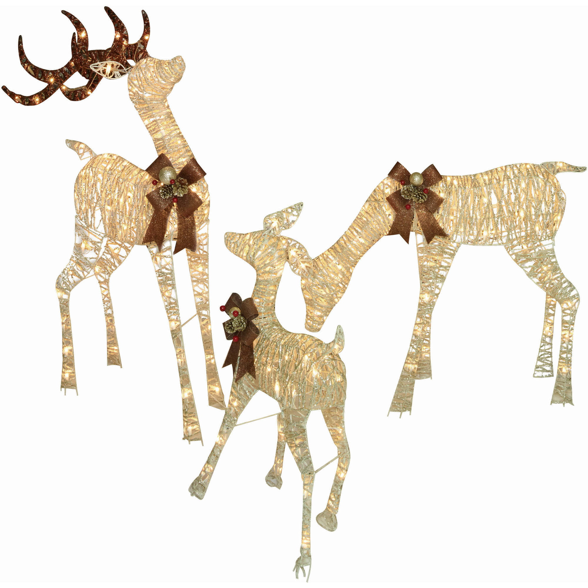 holiday time christmas decor set of 3 woodland look deer family 48 buck 36 doe 28 fawn walmartcom - Lighted Deer Christmas Lawn Ornaments