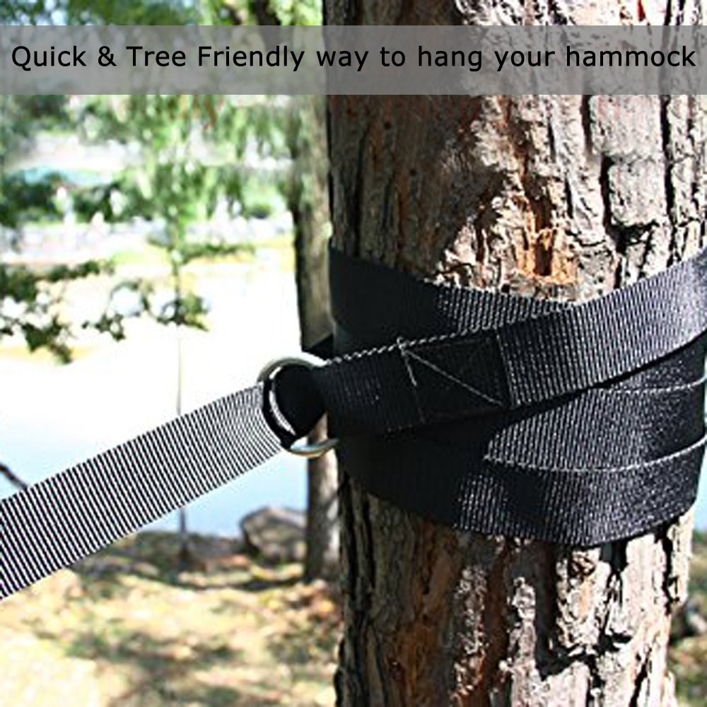 Ohuhu Hammock Straps Tree Hanging Strings for Camping Hiking Outdoors and Patio with S Hooks, Carabiners and Carry Bag, 2 Pack