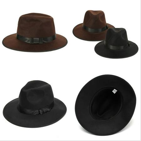 Vintage Wide Brim Wool Felt Floppy Fedora Jazz Hat Bowler Trilby Cap for Men Women Christmas Gift - image 4 of 7