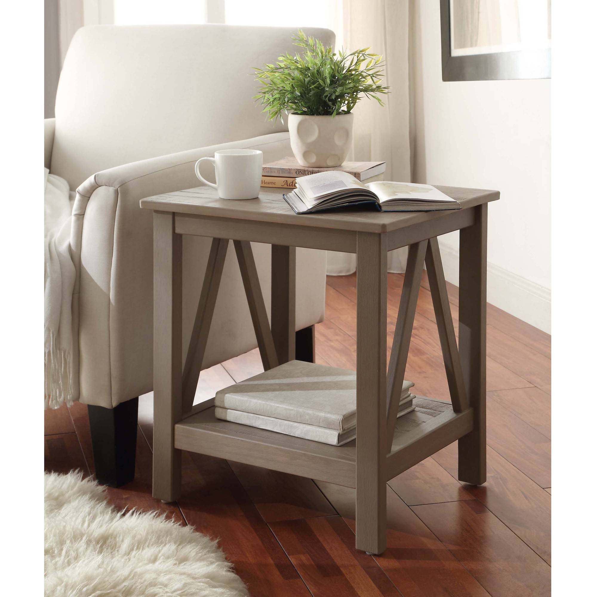 Rustic End Tables linon titian end table, rustic gray - walmart