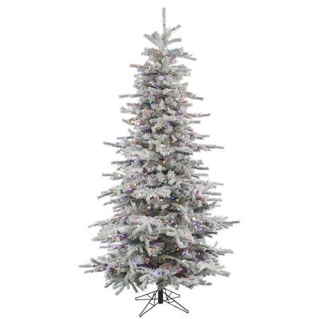 vickerman flocked sierra fir pre lit slim christmas tree