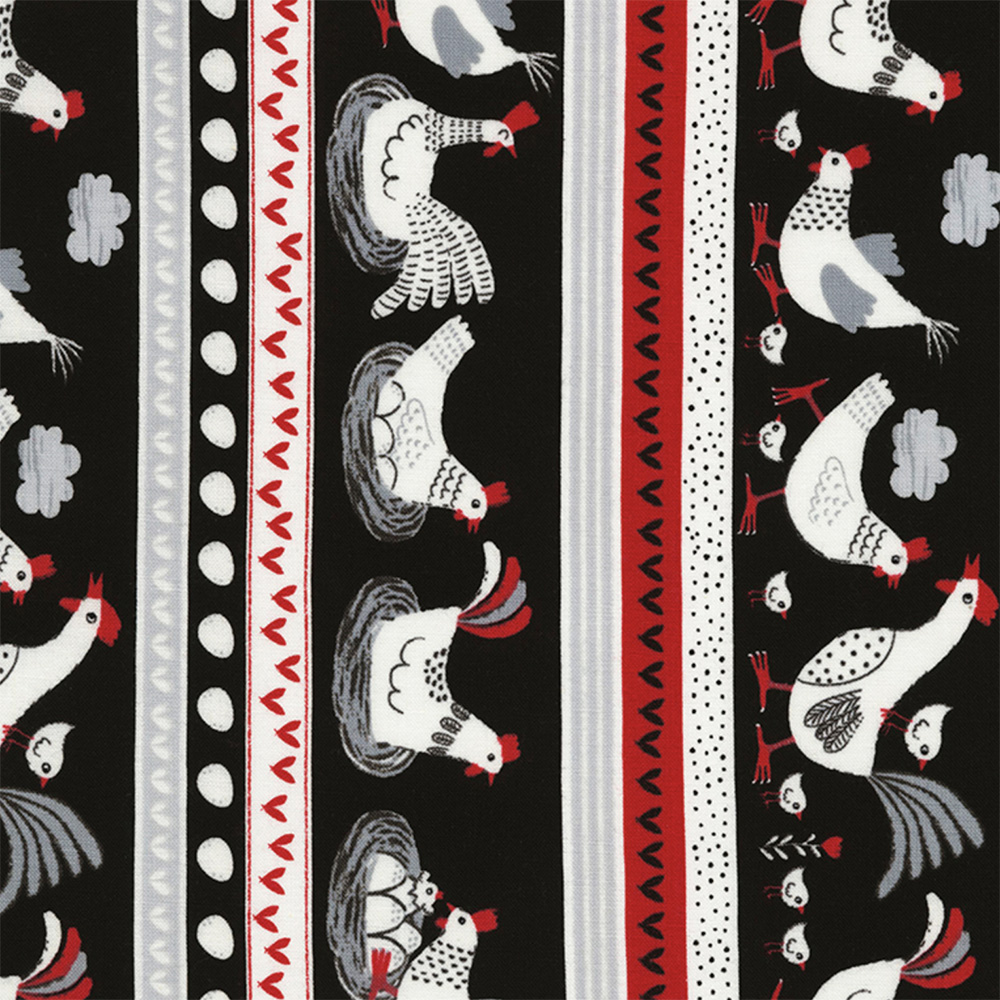 Timeless Treasures Black Chicks And Chickens Stripe