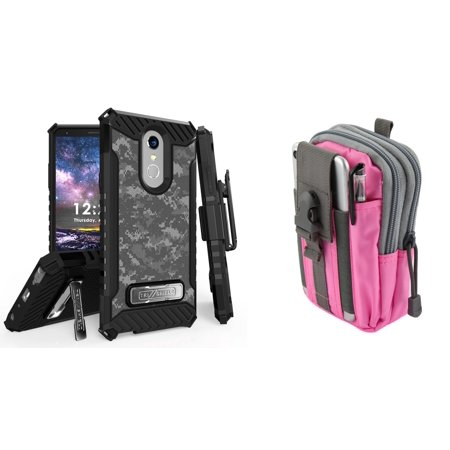 BC Military Grade Kickstand Belt Holster Case (Digital Pixel Camo) with  Pink Gray Tactical EDC MOLLE Utility Waist Pack Holder Pouch, Atom Cloth  for