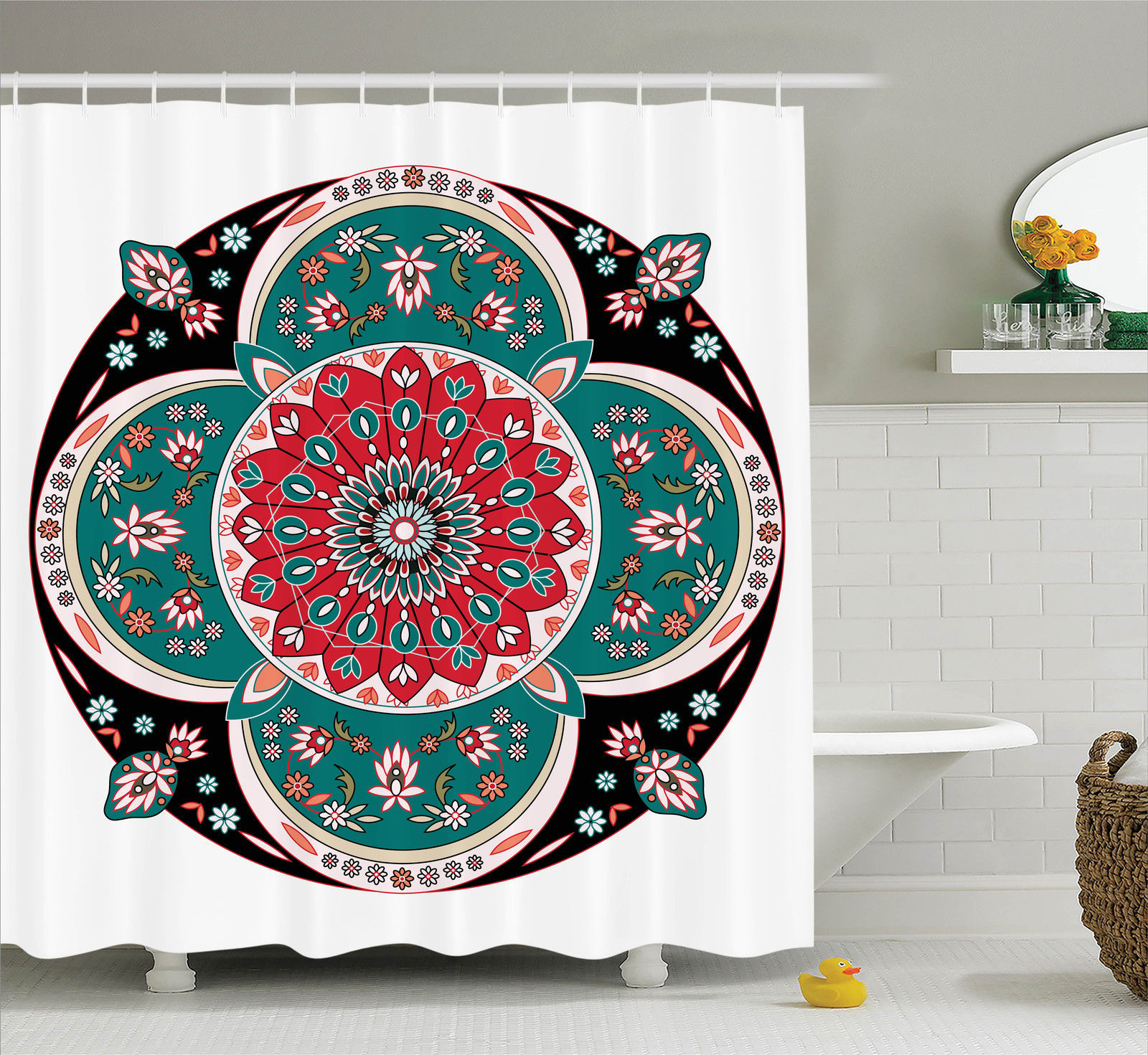 Arabian Decor  Oriental Ornate Embriodery Style Floral Ethnic Pattern Illustration Of Old Eastern Artistic, Bathroom Accessories, 69W X 84L Inches Extra Long, By Ambesonne