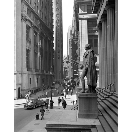 1950S Wall Street From Steps Of Federal Hall National Memorial Looking Towards Trinity Church In New York City Usa Rolled Canvas Art   Vintage Images