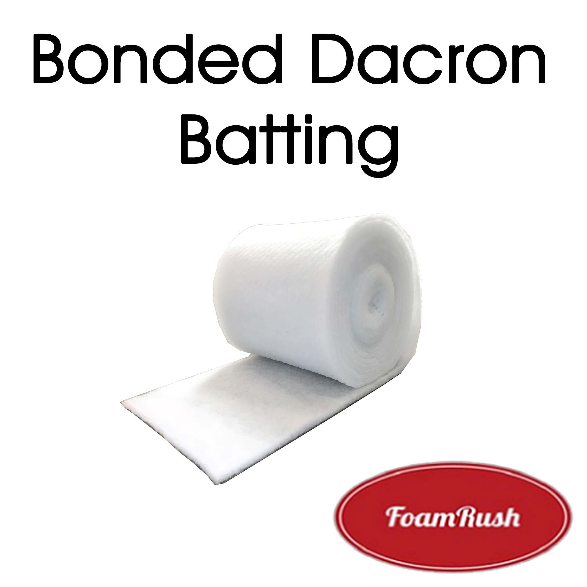"Foamrush 1/2 Ounce 24"" x 24"" Low-Loft Bonded Polyester White Quilt Dacron / Batting Ready Made Pre Cut Square Sizes"