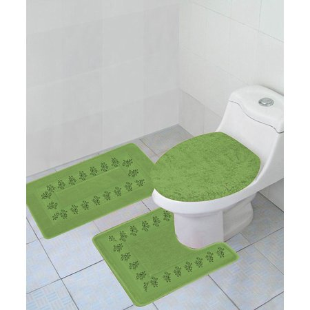 5 Light Bath - 3-PC (#5) SAGE GREEN Embroidery Design Bathroom Bath Mat Set Includes, 1 Contour Mat, 1 Lid Toilet Cover, 1 Bath Mat Ultra Absorbent with Anti-Slip Backings