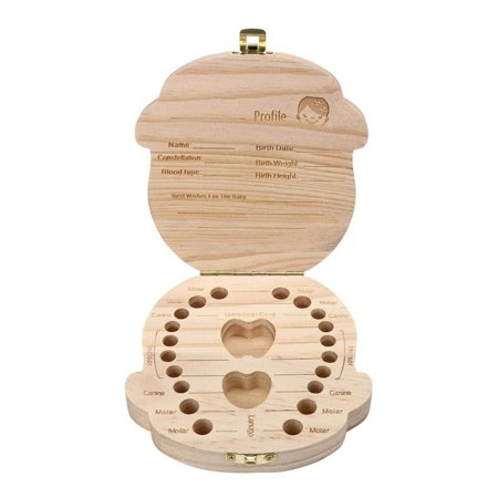 Wooden Kids Baby Tooth Box Milk Teeth Lanugo Umbilical Cord Wood Storage Box for Boy and Girl ()