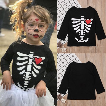 Hot Selling Newborn Halloween Baby Girl Bone Love Pattern Long Sleeve T-shirt Top Clothes - Top Baby Games Halloween