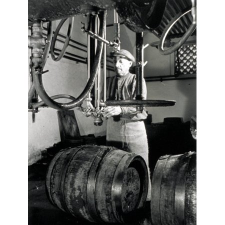 Worker in Front of Some Isobarometric Equipment Inside a Brewery Print Wall Art By A. Villani