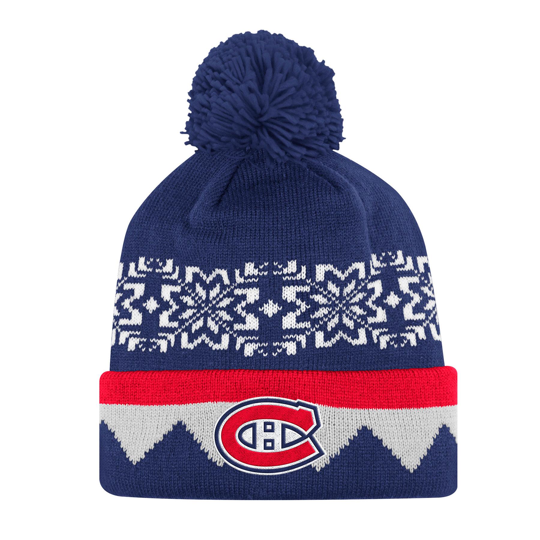 Montreal Canadiens adidas NHL Snowflake Cuffed Pom Knit Hat 10b7345dc12f