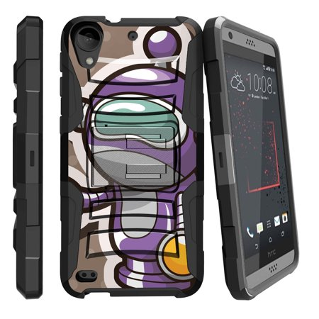 TurtleArmor ® | For HTC Desire 530 / HTC Desire 630 / HTC Desire 550 [Hyper Shock] Rugged Dual Layer Hybrid Armor Kickstand Holster Belt Clip Case - Space Robot