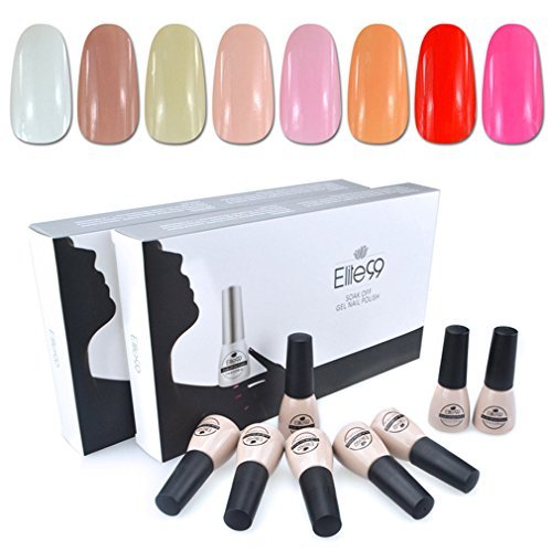 Elite99 Soak Off UV LED Gel Nail Polish 8 Colors Lacquer Manicure Pedicure Nail Art Decoration C001