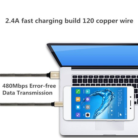 Nylon Braided Micro USB Data Charging Cable For Samsung Galaxy For Huawei - image 9 of 10