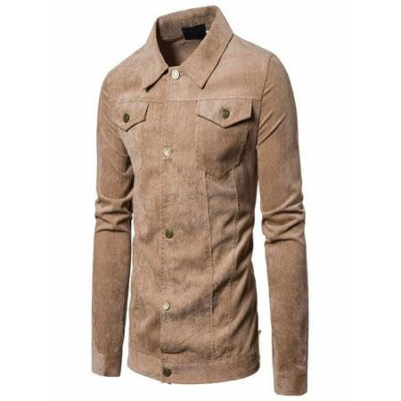 OkrayDirect Men's Long Sleeve Corduroy Tops Turn Down Collar Jacket Coat Outwear With Pocket