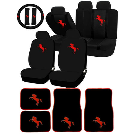 26 Piece Red Pony Horse Mustang Universal Seat Covers & Carpet Floor Mats Set Car Truck SUV (Mustang Accessories)