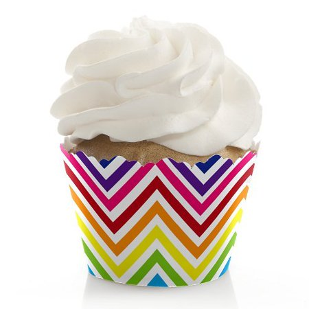 Chevron Rainbow - Baby, Bridal Shower or Birthday Party Cupcake Wrappers - Set of 12