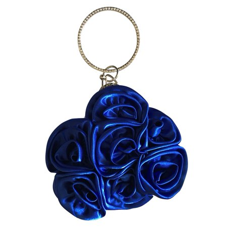 9b1cf38a7832 Chicastic - Chicastic Satin Rosette Bridal Bridesmaid Wristlet Clutch Bag  with Rhinestone Studded Ring Handle - Royal Blue - Walmart.com