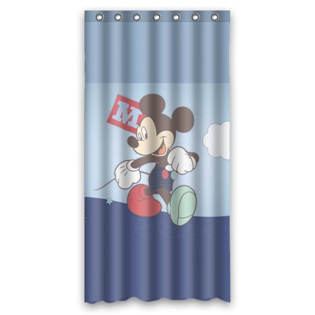 DEYOU Classical Mickey Mouse Cartoon Image Shower Curtain Polyester Fabric Bathroom Size 36x72 Inches