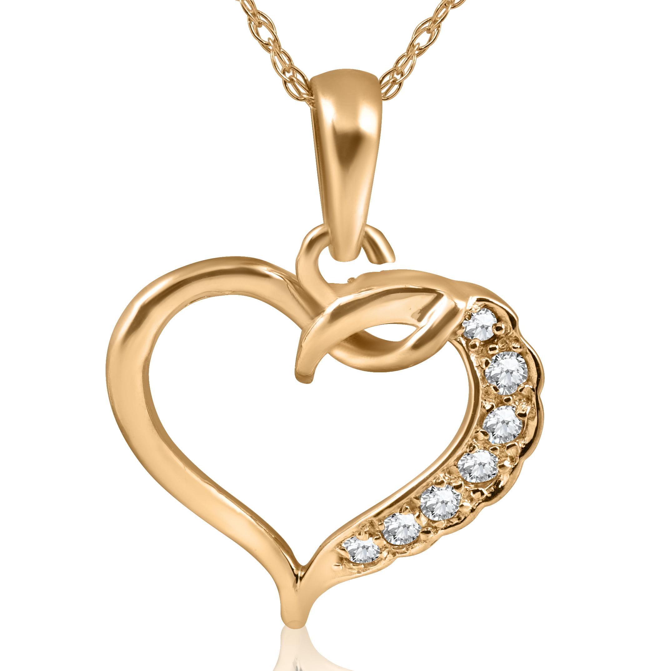 1 5ct Diamond Heart Pendant 14K Yellow Gold by Pompeii3