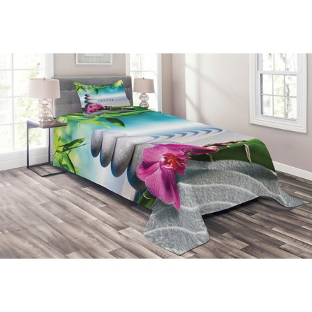 Spa Coverlet Set, Sand Orchid and Massage Stones in Zen Garden Sunny Day Meditation Yoga, Decorative Quilted Bedspread Set with Pillow Shams Included, Blue Fern Green Fuchsia, by Ambesonne Spa Quilted Sham Set