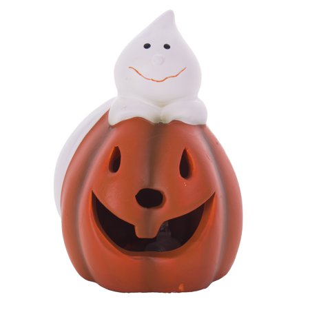 Pumpkin Shape Ceramic - Ceramic Pumpkin Silly Ghost Light-Up  5