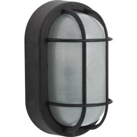 Outdoor Incandescent Nautical Bulkhead Oval Wall Fixture, Black - Nautical Outdoor Lighting