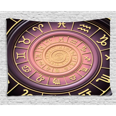 Astrology Tapestry  Zodiac Horoscope Signs With Inner Circles Shell Like Swirls Image  Wall Hanging For Bedroom Living Room Dorm Decor  60W X 40L Inches  Purple Pink Black And Gold  By Ambesonne