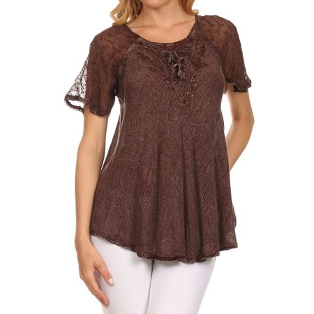 04b19b640c0d4 Sakkas Ellie Sequin Embroidered Cap Sleeve Scoop Neck Relaxed Fit Blouse -  Chocolate - One Size Plus - Walmart.com