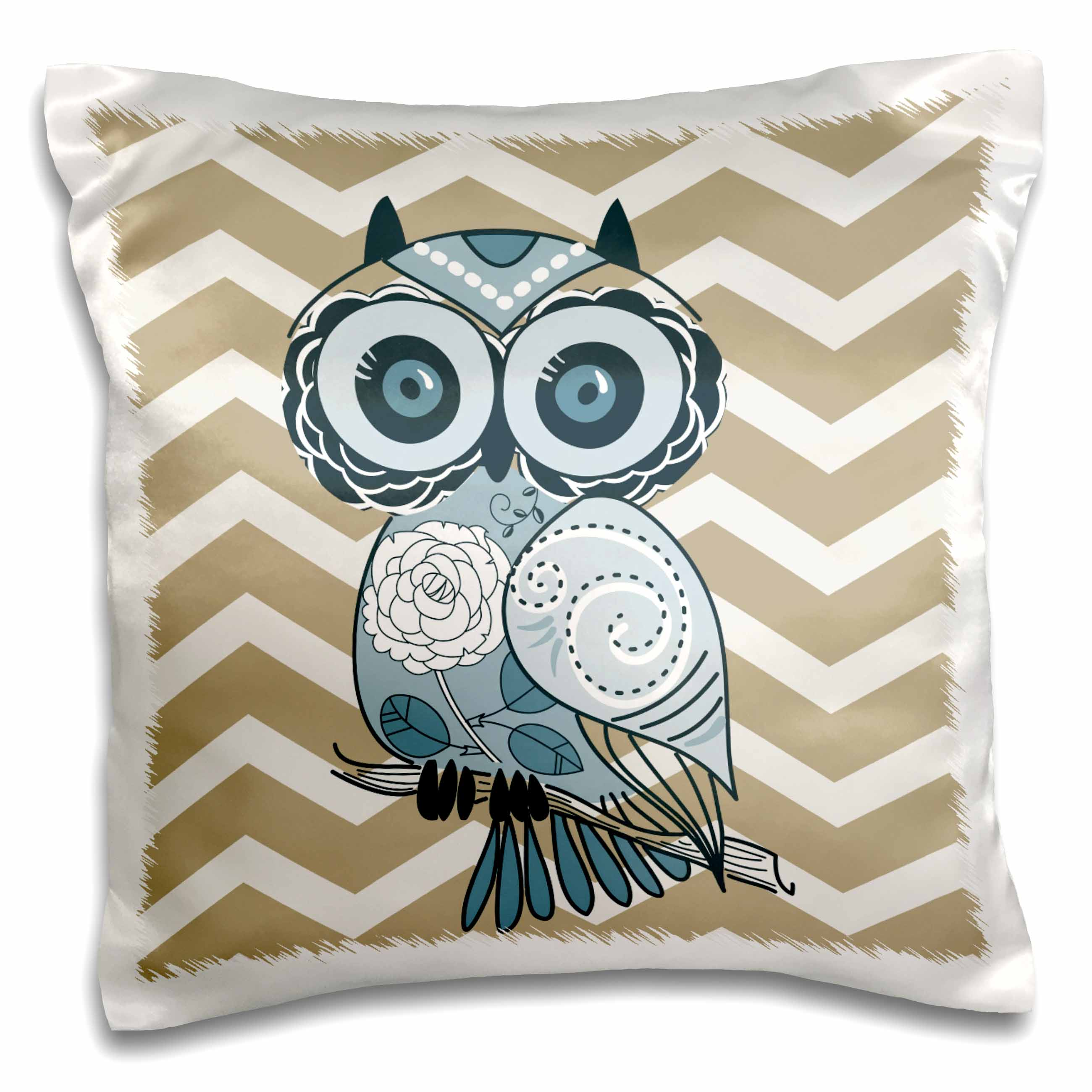 3dRose Blue Owl with beige and white chevron, Pillow Case, 16 by 16-inch