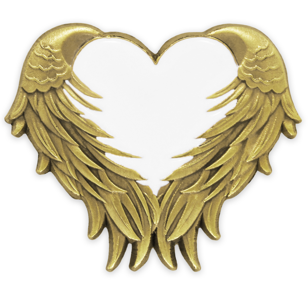 Pinmart s White Heart with Antique Gold Angel Wings Ename...