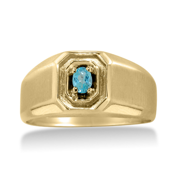1 4ct Oval Blue Topaz Men's Ring Crafted In Solid Yellow Gold by