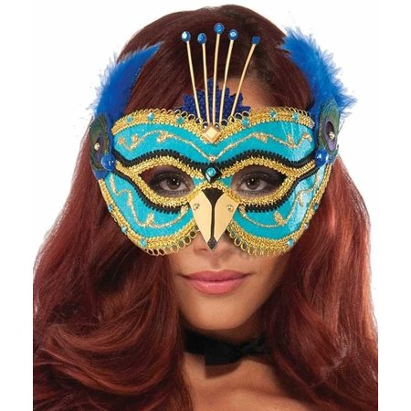 Adults Peacock Mask With Eyeglass Frames Mardi Gras And Halloween Accessory (Mardi Gras Peacock Mask)