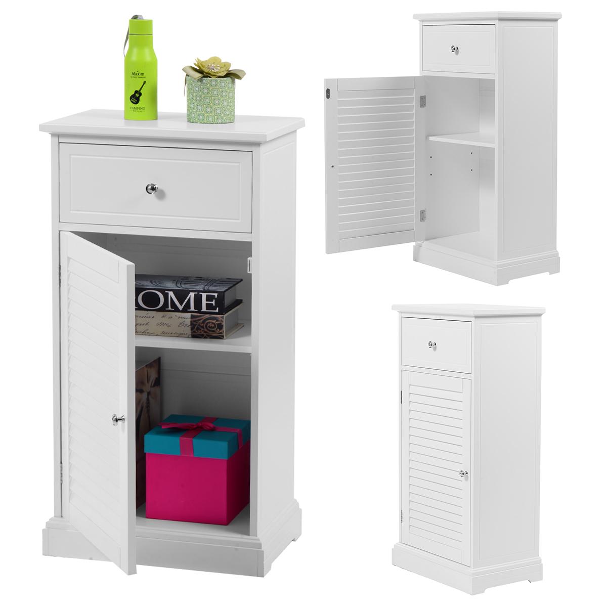 Costway White Storage Floor Cabinet Wall Shutter Door Bathroom Organizer Cupboard Shelf