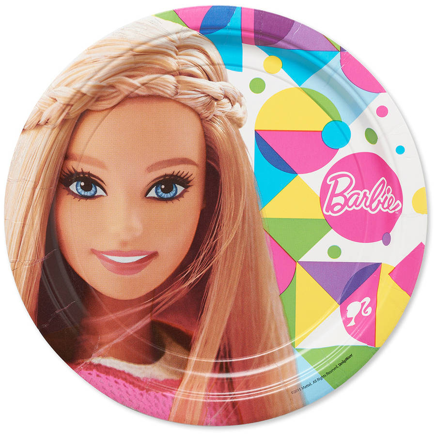 "Barbie 9"" Square Plate, 8 Count, Party Supplies"
