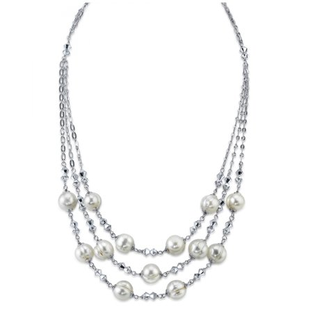9mm Triple Strand White Freshwater Cultured Pearl & Crystal Necklace