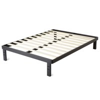"intelliBASE 18"" Deluxe Metal Platform Bed Frame with Wooden Slats, Black Full"