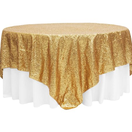 "1 Pc, Glitz Sequin Table Overlay Topper 90""X90"" Square - Gold For Wedding Ceremonies & Receptions, Bridal Showers, Baby Showers, Quinceaneras, Anniversary Parties, Or Special Event"