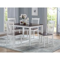 ACME Green Leigh 5-Pieces Pack Dining Set in White and Walnut