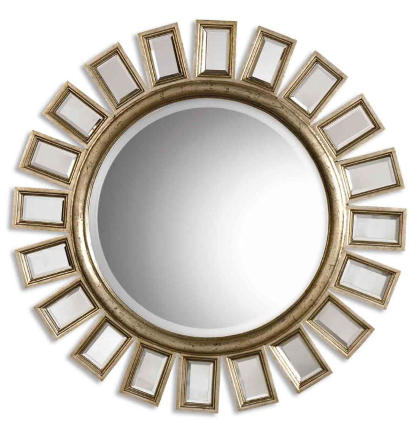 """34"""" Distressed Silver Leaf Finish with Small Mirrors Framed Round Wall Mirror"""