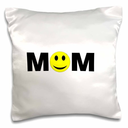 3dRose Print of Mom With Smiley Face For O - Pillow Case, 16 by -
