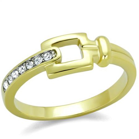 14k Gold Ion Plated Stainless Steel Buckle & Crystal Fashion Ring Womens Size 5