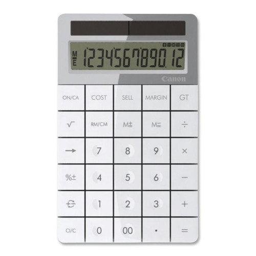Canon 12-Digit Calculator, Solar PoWhiter, 3-7/8''x6-1/8''x1/2'', White