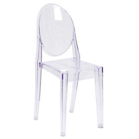 Flash Furniture Ghost Chair with Oval Back in Transparent Crystal Acrylic Clear Cradle Chair