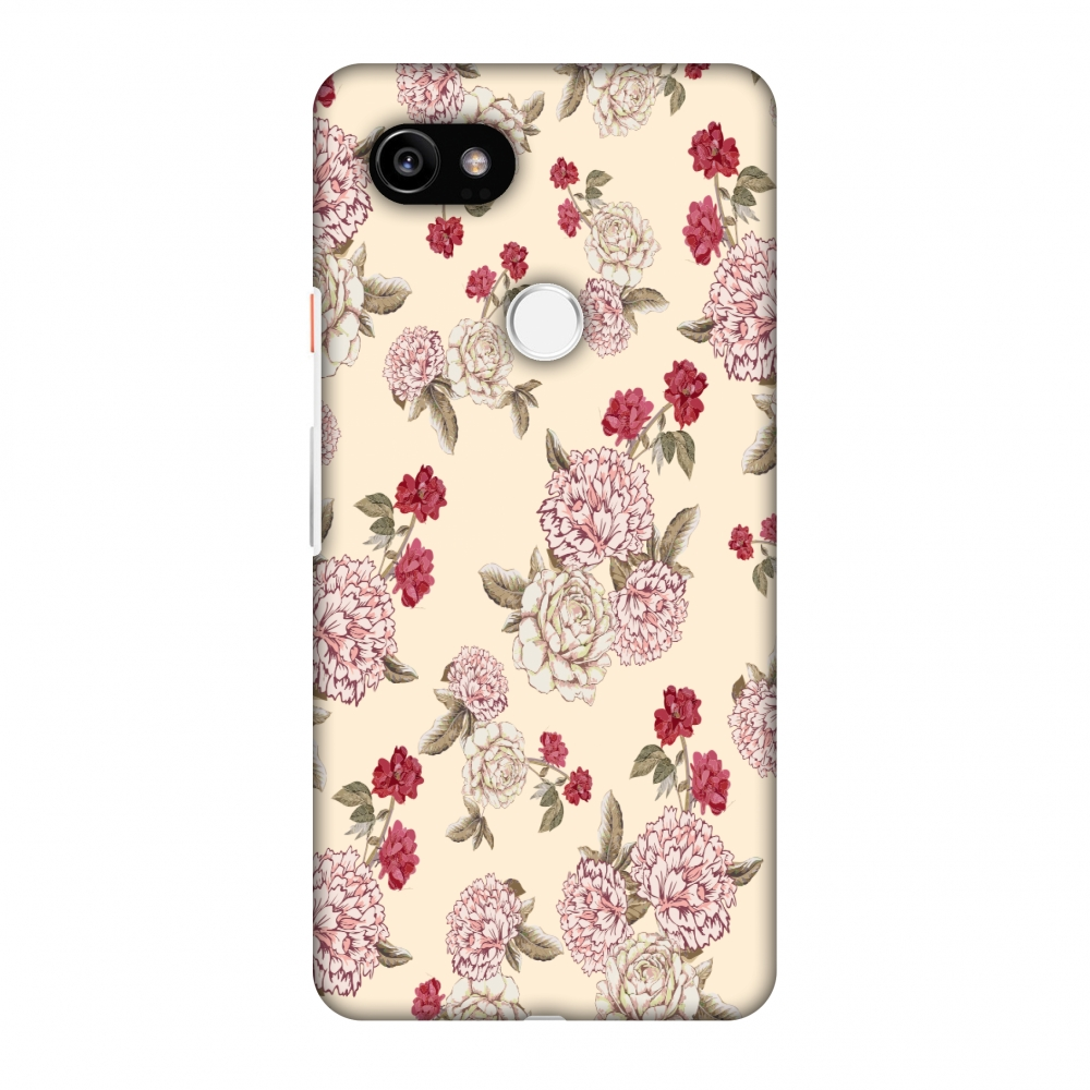 Google Pixel 2 XL Case - Dahlia and rose- Cream, Hard Plastic Back Cover, Slim Profile Cute Printed Designer Snap on Case with Screen Cleaning Kit