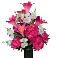 Sympathy Silks Artificial Cemetery Flowers - Realistic - Outdoor Grave Decorations - Non-Bleed Colors, and Easy Fit - Pink and Purple Dahlia Mix Bouquet